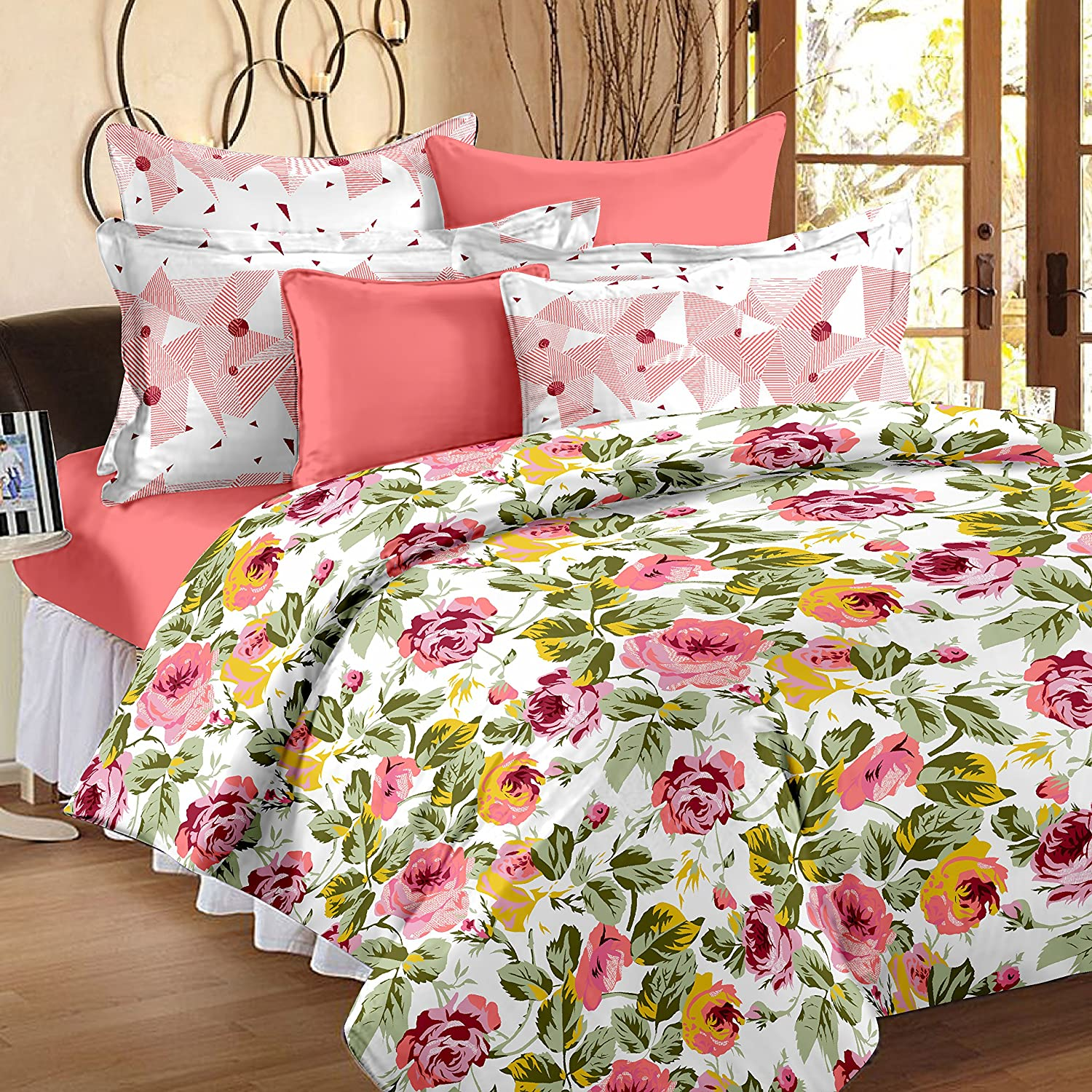 Story@Home Premium Soft and Light Weight Luxury Printed Reversible Floral Cotton Satin Double Comforter