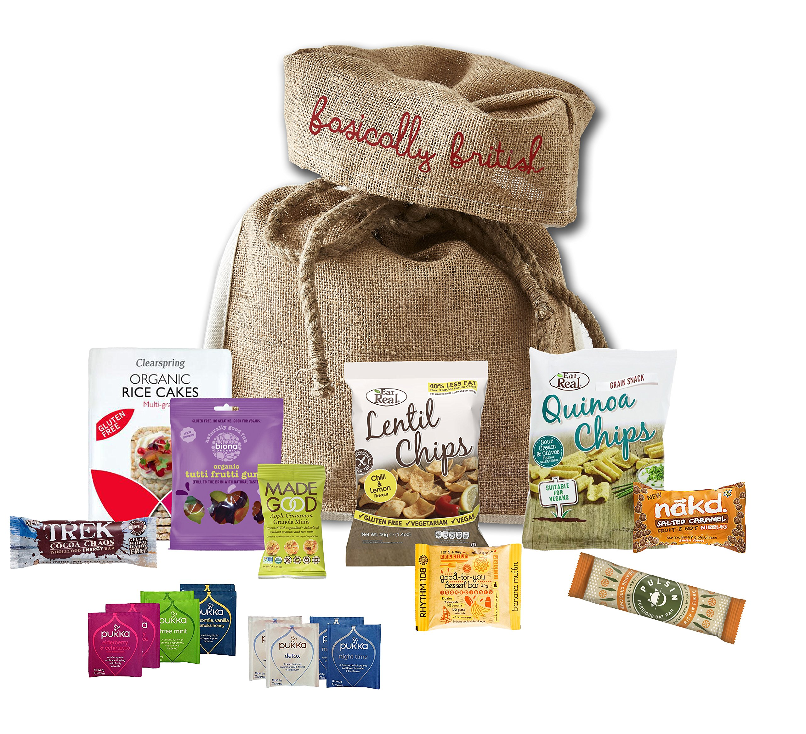 Feel Good Munchies Healthy gift basket by The Yummy Palette | Pukka Tea Bags and healthy snacks | Eat Real Chips Rice Cakes Nuts Rhythm 108 cakes in Basically British Rustic Gift Bag by The Yummy Palette