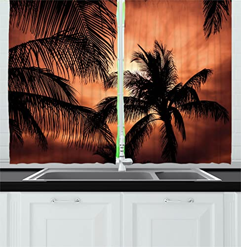 Ambesonne Tropical Kitchen Curtains, Tropical Theme The Silhouette of Palm Trees at Sunset Digital Style Print, Window Drapes 2 Panel Set for Kitchen Cafe Decor, 55 X 39 , Orange Dark Orange