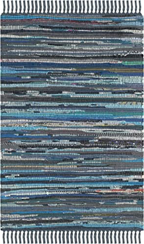 Safavieh Rag Rug Collection RAR121C Hand Woven Ink and Multi Cotton Area Rug 2 x 3
