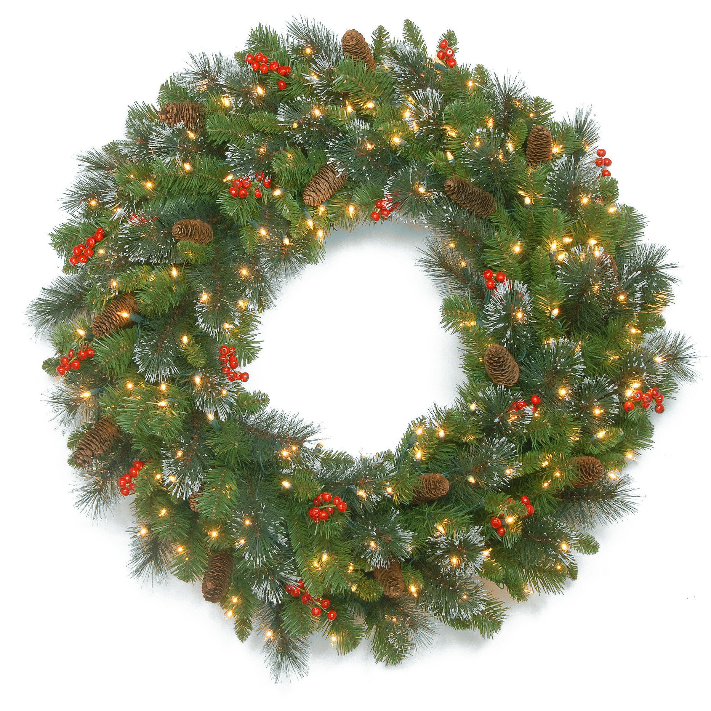 National Tree 30 Inch Crestwood Spruce Wreath with Silver Bristles, Cones, Red Berries and 70 Battery Operated Warm White LED Lights with Timer (CW7-306-30WBC1)