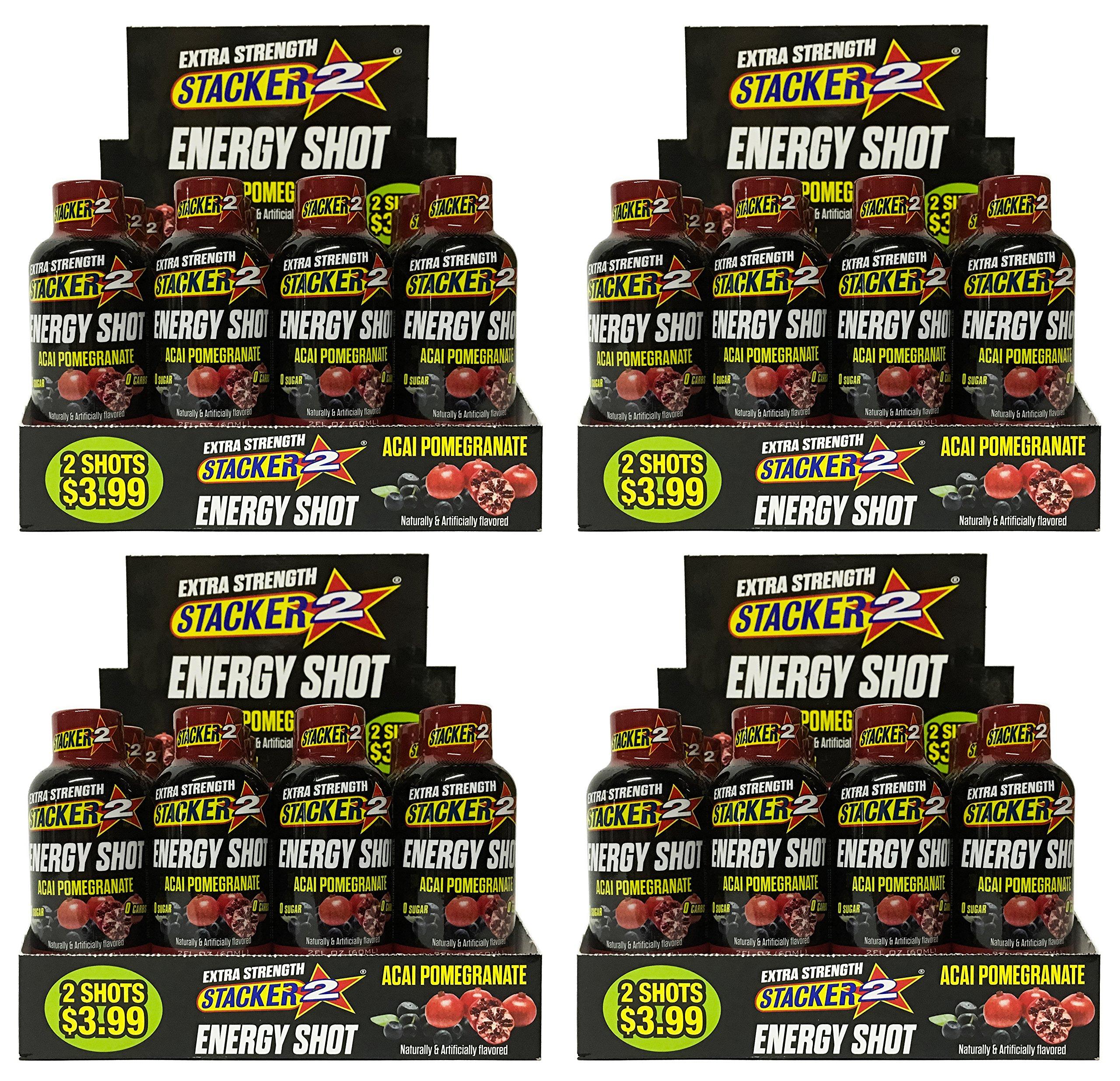 Stacker 2 Energy Shot, 'EXTRA STRENGTH' Acai Pomegranate, 2-Ounce Bottles (Extra Strength Pomegranate, 48 Shots)