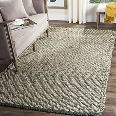 Safavieh Natural Fiber Collection NF454A Hand Woven Blue and Natural Jute Area Rug (5' x 8')