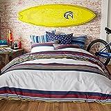 Hang Ten Ocean Beach Reversible Cotton Duvet Cover Set, Multi, Full Queen