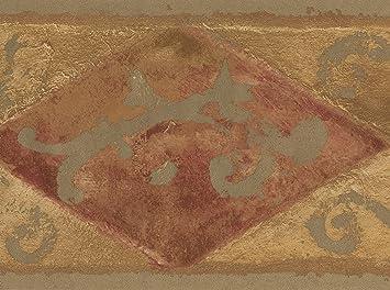 Rouge Marron Beige Abstraite Frise Pour Papier Peint Motif