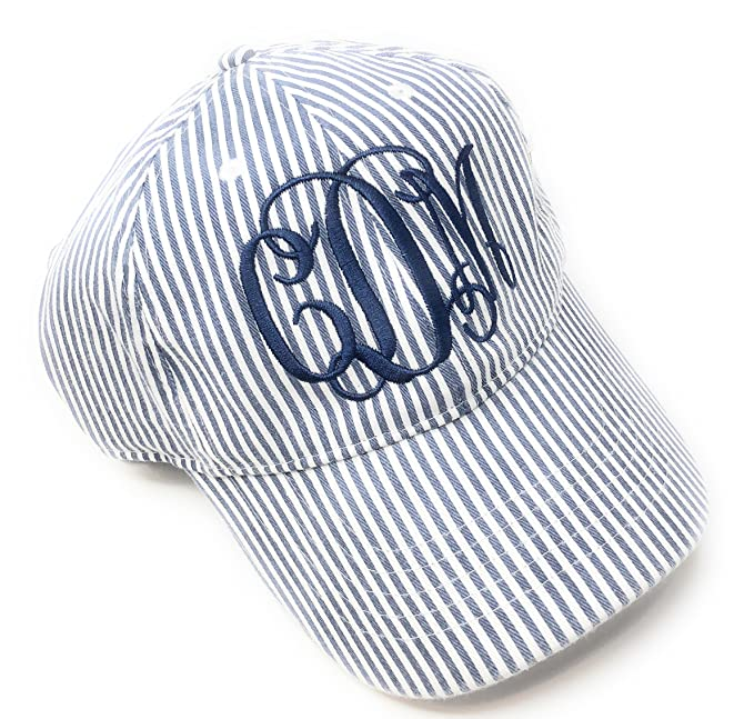 036419a0eb9 Image Unavailable. Image not available for. Color  Mary s Monograms  Monogrammed Lightweight Navy Blue Seersucker Hat