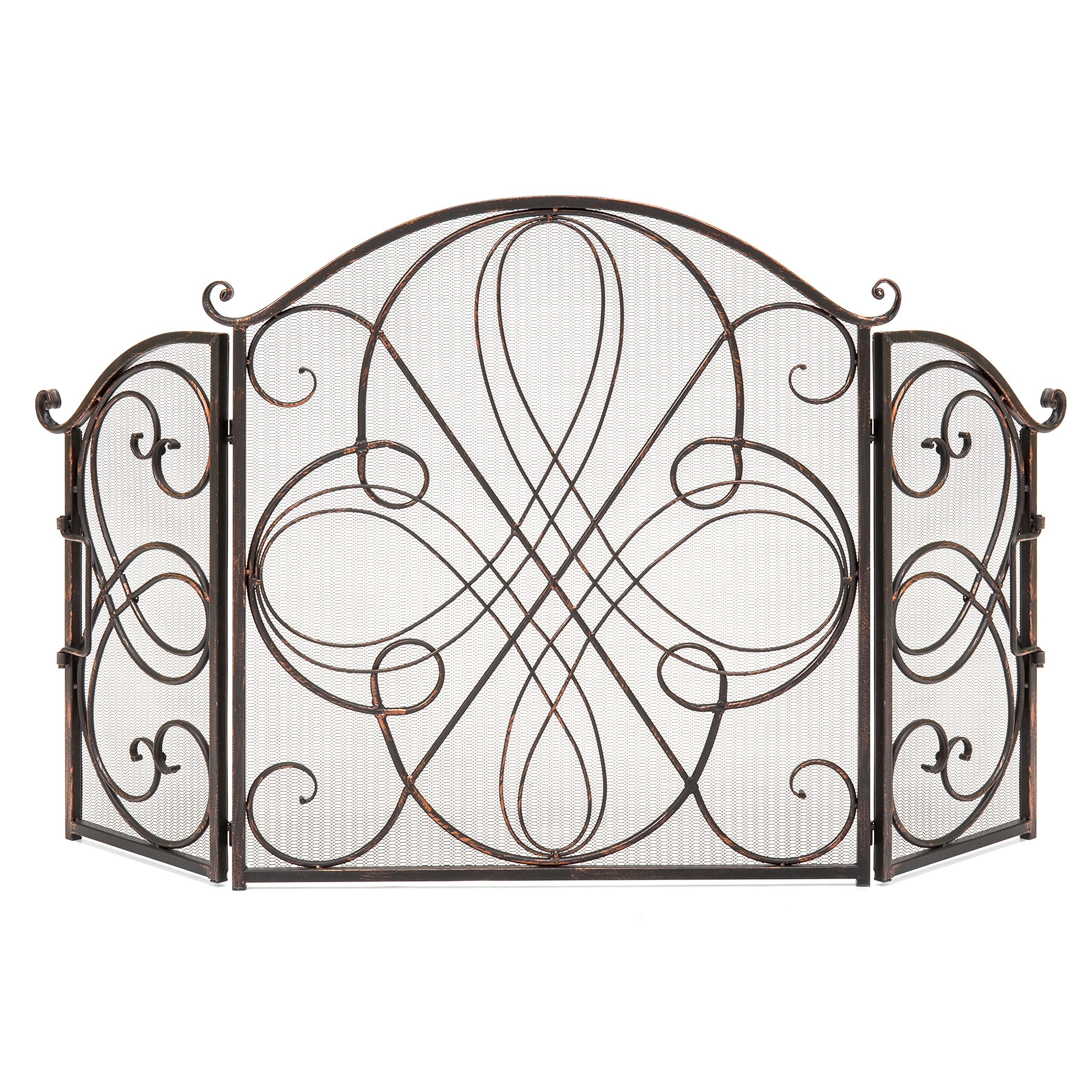Best Choice Products 3-Panel Wrought Iron Fireplace Safety Screen Decorative Scroll Spark Guard Cover by Best Choice Products