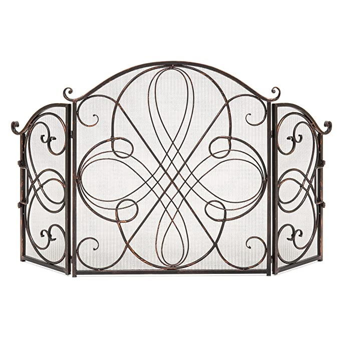 Best Choice Products 3-Panel Solid Wrought Iron See-Through Metal Fireplace Safety Screen Protector Decorative Scroll Spark Guard Cover, Antique Bronze