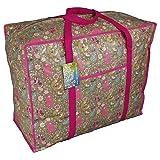 Grand sac de stockage rose avec poche. Motif des animaux du forêt. Pour jouets, lavage etc