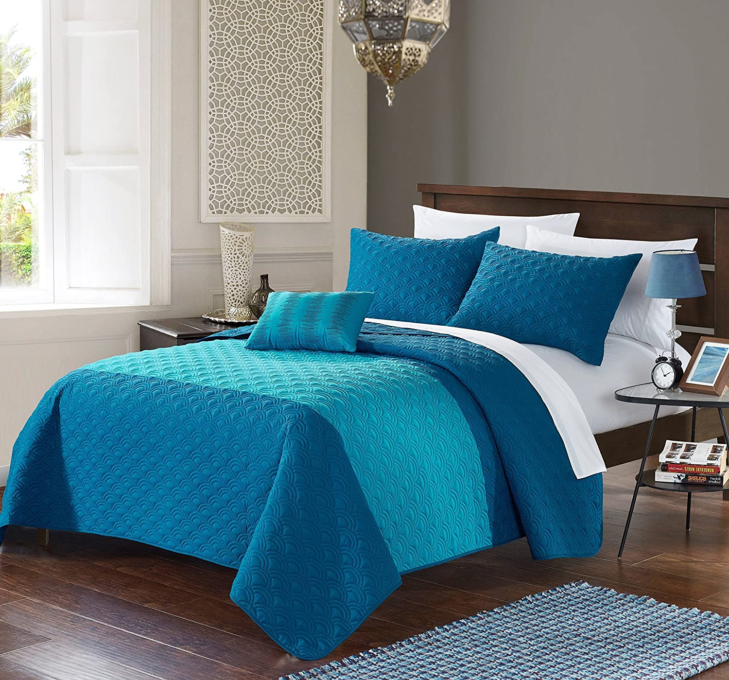 Chic Home 4 Piece Ellias Geometric Quilting Embroidery King Quilt Set Teal