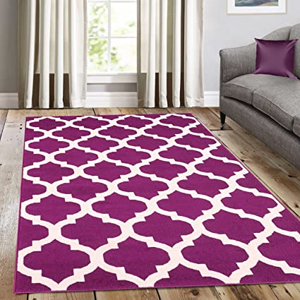 A2z Rug Trendy 5309 Geometric Trellis Purple Without Borders Contemporary Area Rugs 60x230cm 1 12 X7 7 Ft Amazon Co Uk Kitchen Home