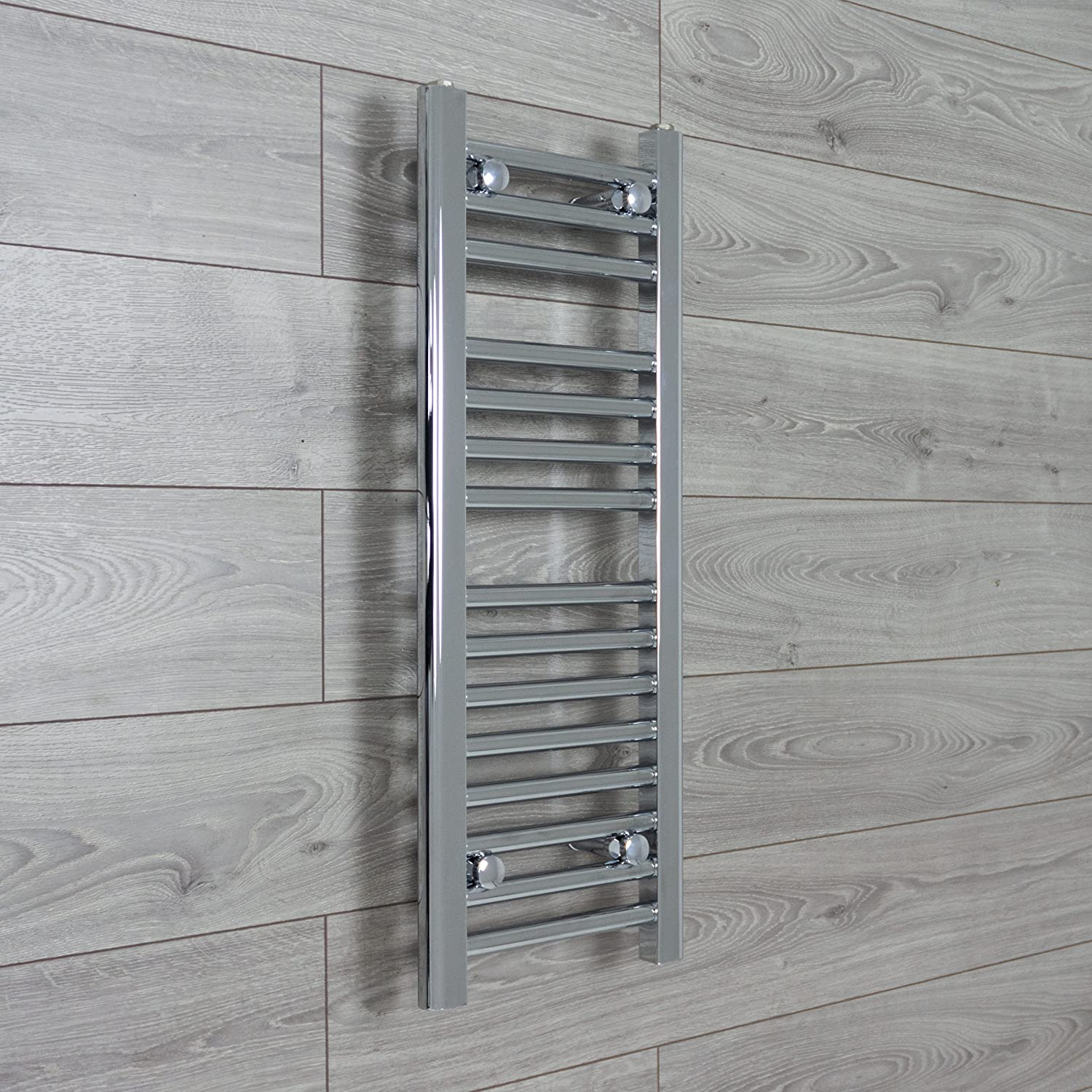 HEATED CHROME TOWEL RAIL RADIATOR WARMER 300mm wide x 800mm high Flat