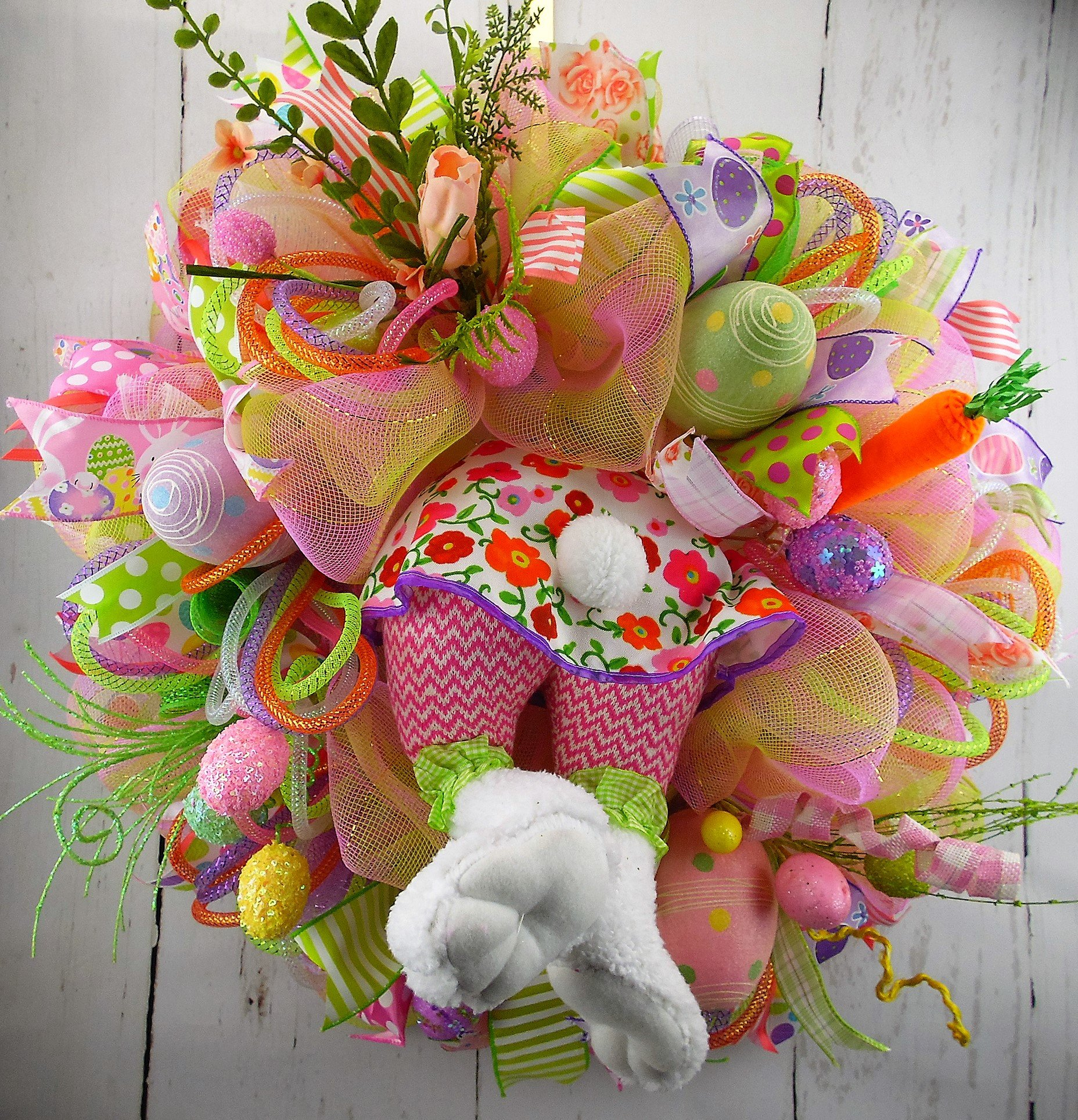 Girl Bunny Easter Wreath, Easter Deco Mesh Wreath, Easter Egg Wreath, Bunny Butt Wreath, Whimsical Easter Wreath,