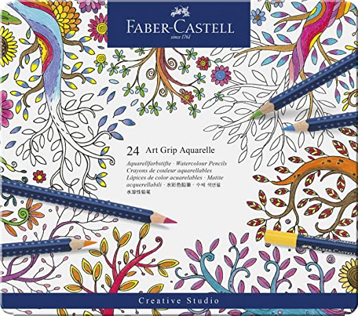 Faber Castell Art Grip Aquarelle Watercolor Pencil Set, Tin of 24
