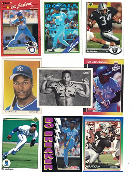 Bo Jackson25 Different Baseball Football Cards Featuring Bo Jackson