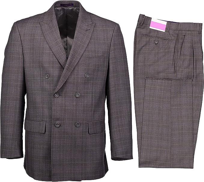 Men's Vintage Style Suits, Classic Suits VINCI Mens Glen Plaid Double Breasted 6 Button Classic Fit Suit New $89.00 AT vintagedancer.com
