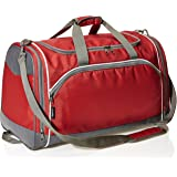 Amazon Basics Small Lightweight Durable Sports Duffel Gym and Overnight Travel Bag - Red