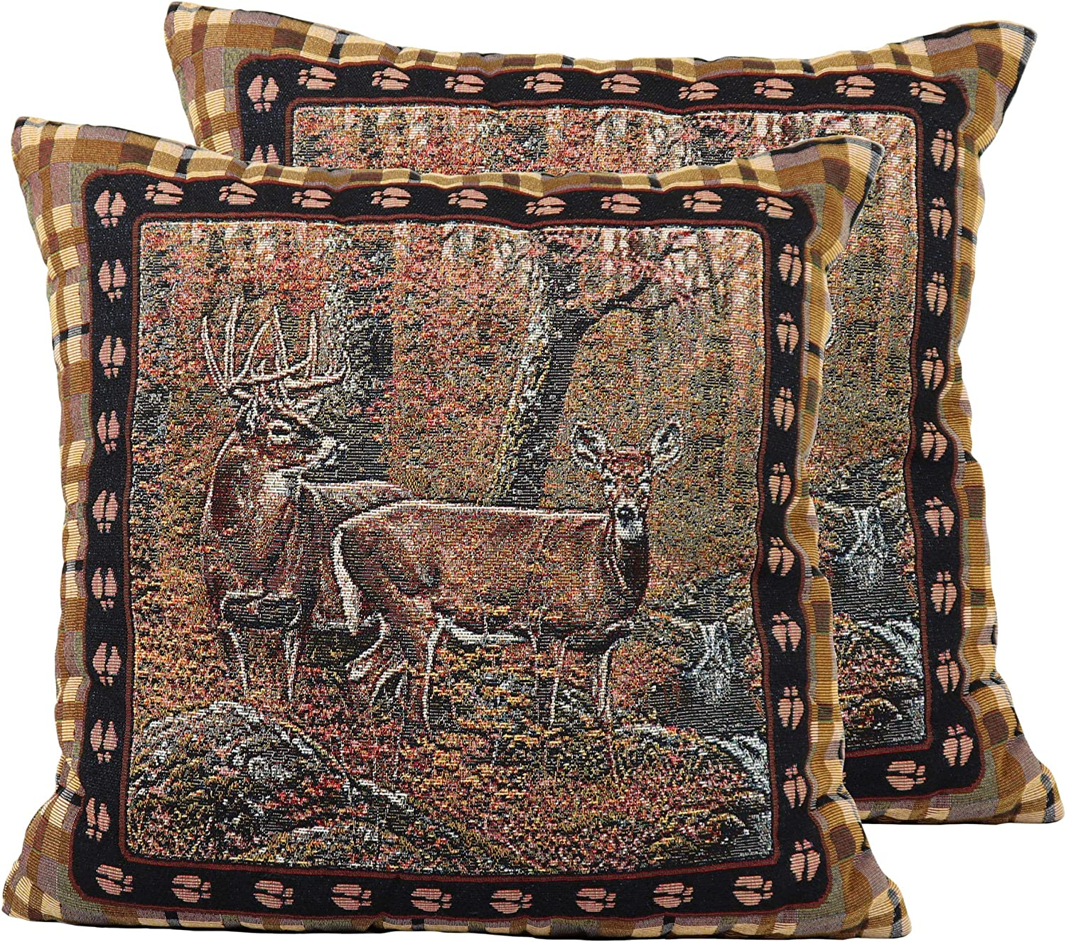 River's Edge Products Deer Tapestry Throw Pillows, Pair with Removable Covers, 18 by 18 Inch Square
