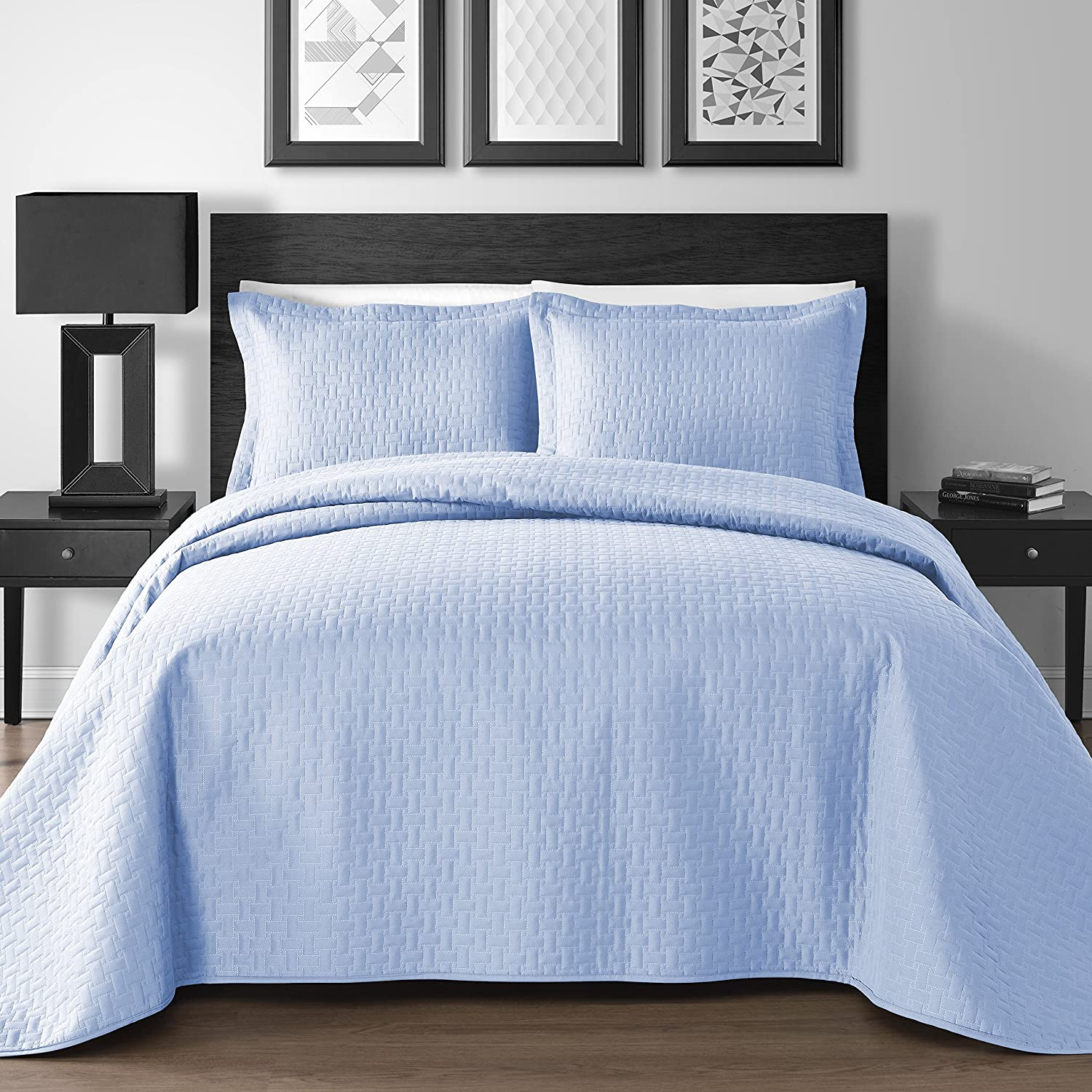 (Full/Queen, Blue) King & Queen Home Extra Lightweight Thermal Embossed Frame 3-piece Coverlet Set (Full/Queen, Blue) B078KCW6PH Full/Queen|ブルー ブルー Full/Queen