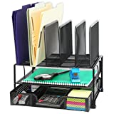 SimpleHouseware Mesh Desk Organizer with Sliding Drawer, Double Tray and 5 Upright Sections, Black (Color: Black)