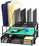 SimpleHouseware Mesh Desk Organiser with Sliding Drawer, Double Tray and 5 Upright Sections, Black
