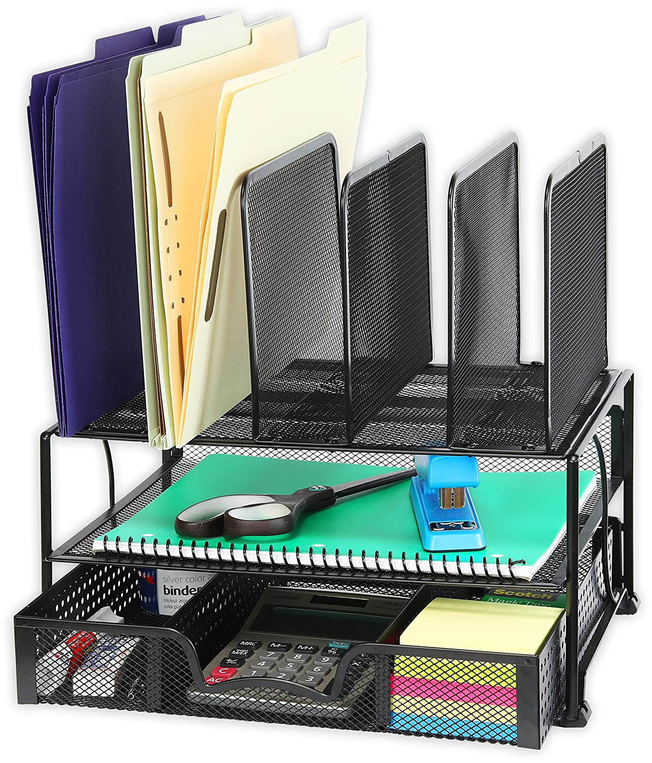 Simplehouseware Mesh Desk Organizer With Sliding Drawer Double Tray And 5 Upright Sections Black