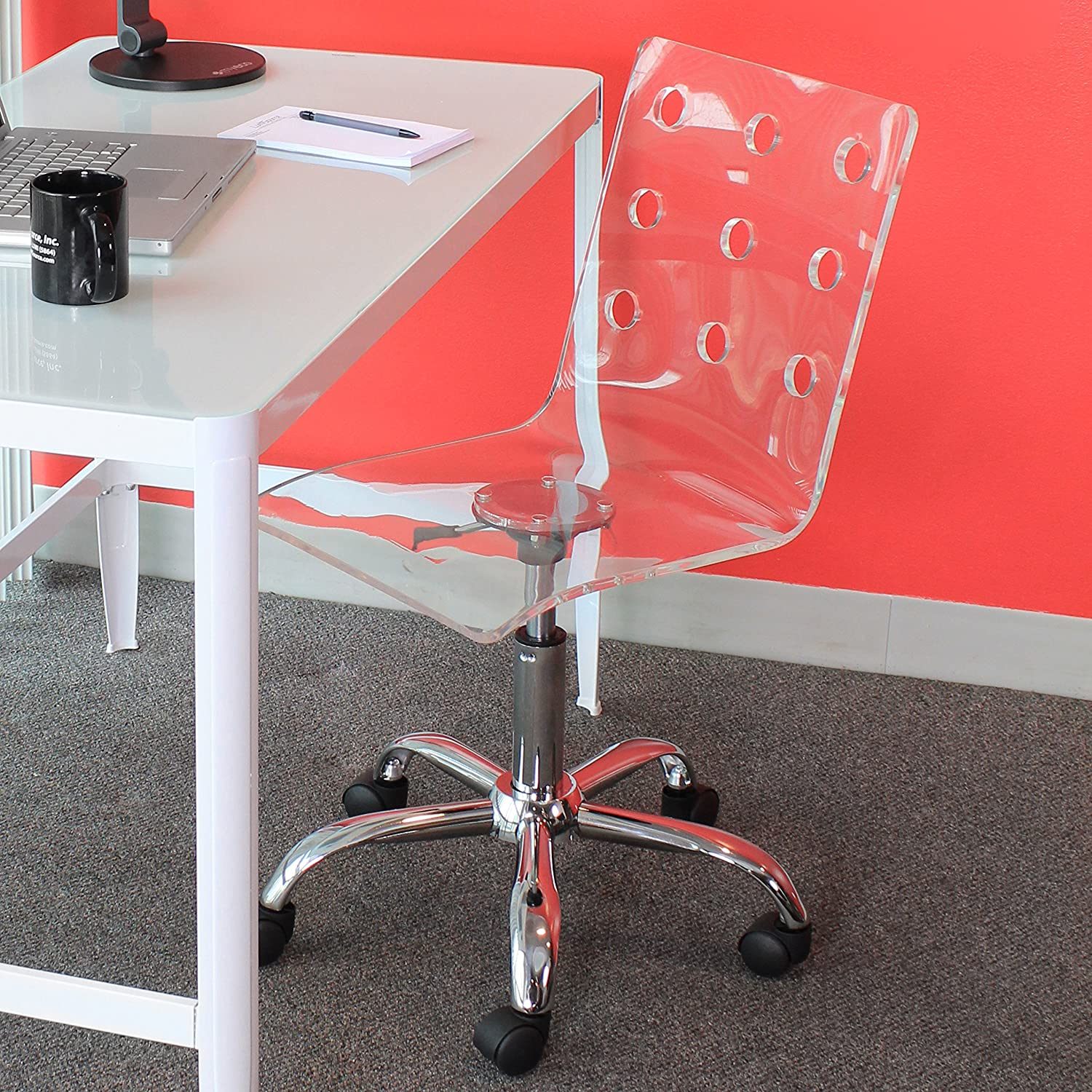 Swiss Clear Acrylic Office Chair Amazoncouk Office Products