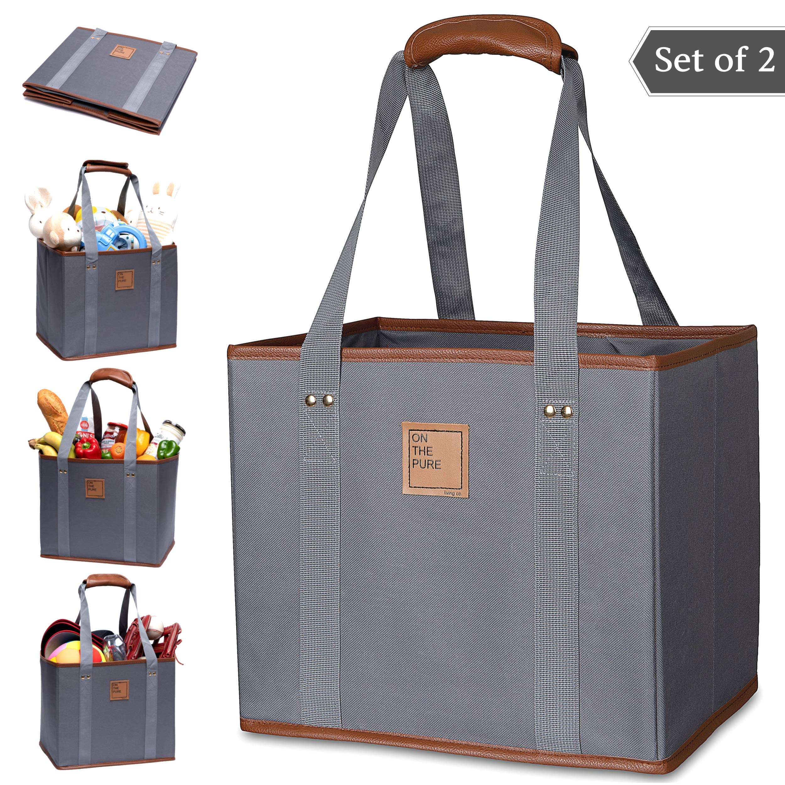Reusable Grocery Tote Bags(Set of 2, Gray)- Stylish Shopping Box Bag(+PU Leather, Strap Handle, Pocket)- Durable Collapsible Cart Bag(Cotton+, Reinforced Sides and Bottom, Heavy Duty, Large, foldable)