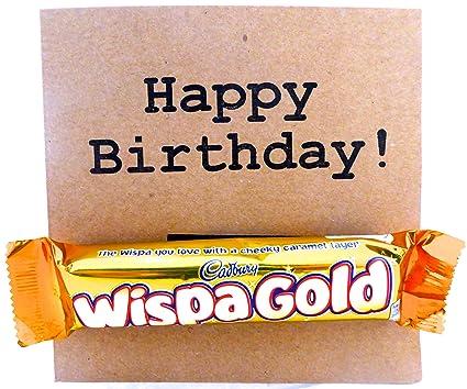 Cadbury Chocolate tarjeta del feliz cumpleaños Wispa oro ...