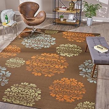 Amazon Com Iris Indoor Floral 8 X 11 Area Rug Brown And