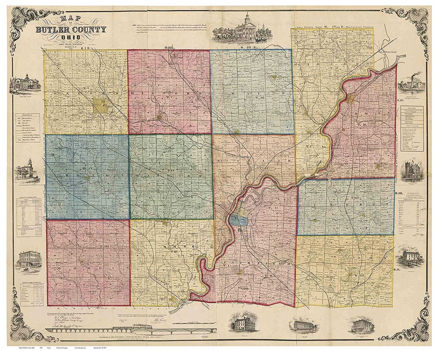 Amazon Com Butler County Ohio 1855 Wall Map With Homeowner Names