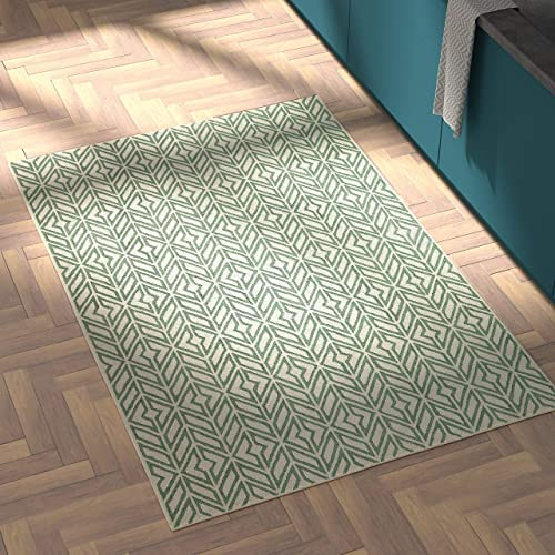 Rivet Contemporary Handtufted Cotton-and-Wool Rug with Geometric Feathered Pattern, 4 x 6 , Green and Cream