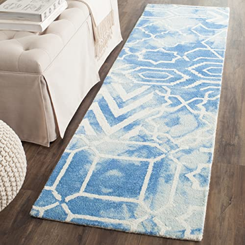 Safavieh Dip Dye Collection DDY678G Handmade Abstract Watercolor Blue and Ivory Wool Runner 2 3 x 10