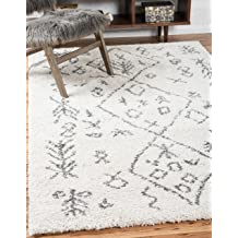 Unique Loom Rabat Shag Collection Tribal Moroccan Nomad Plush Pure Ivory Area Rug (5' x 8')