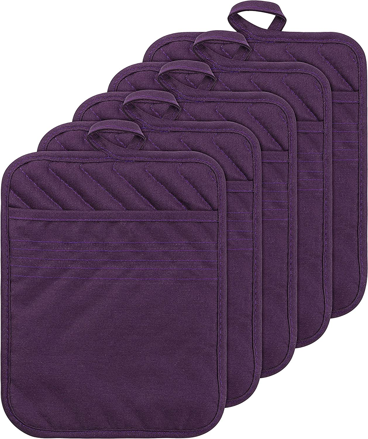 GROBRO7 Set of 5 Pocket Pot Holders Heat Resistant Pot Holder Multipurpose Quilted Cotton Hot Pads Machine Washable Oven Mitts for Daily Kitchen Baking and Cooking by 8.9 x 6.9 Inch Purple