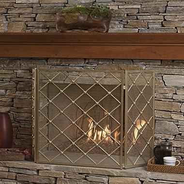 Chamberlain 3 Panelled Gold Iron Fireplace Screen