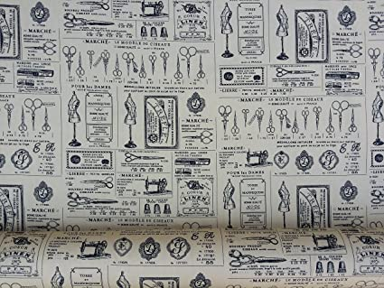 Amazon Vintage Cotton Print Fabric Sewing Machines Scissors Enchanting Vintage Sewing Machine Fabric