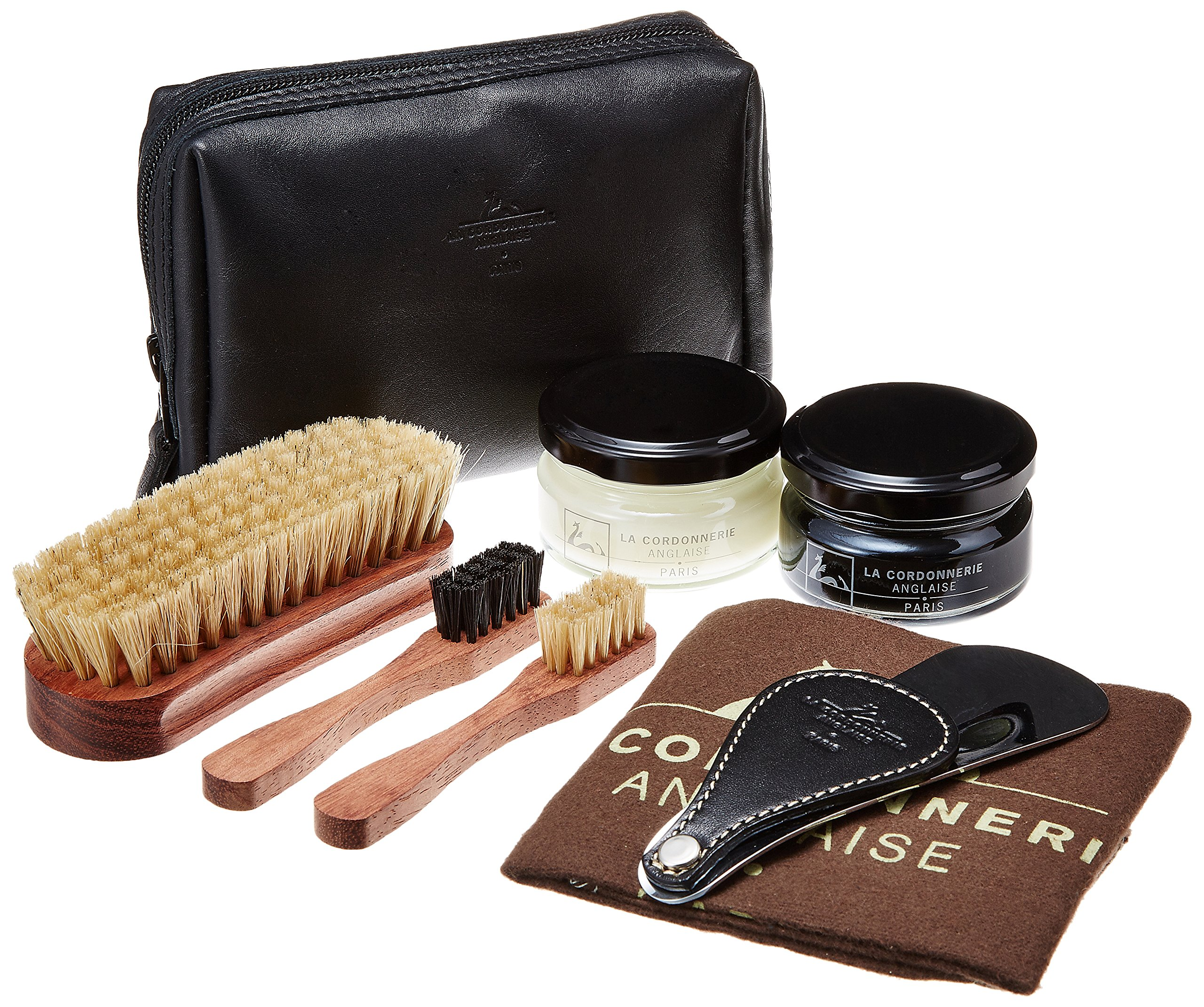 La Cordonnerie Anglaise Luxury Shoe Care Kit -Leather Travel Case - Clipper by Made in France