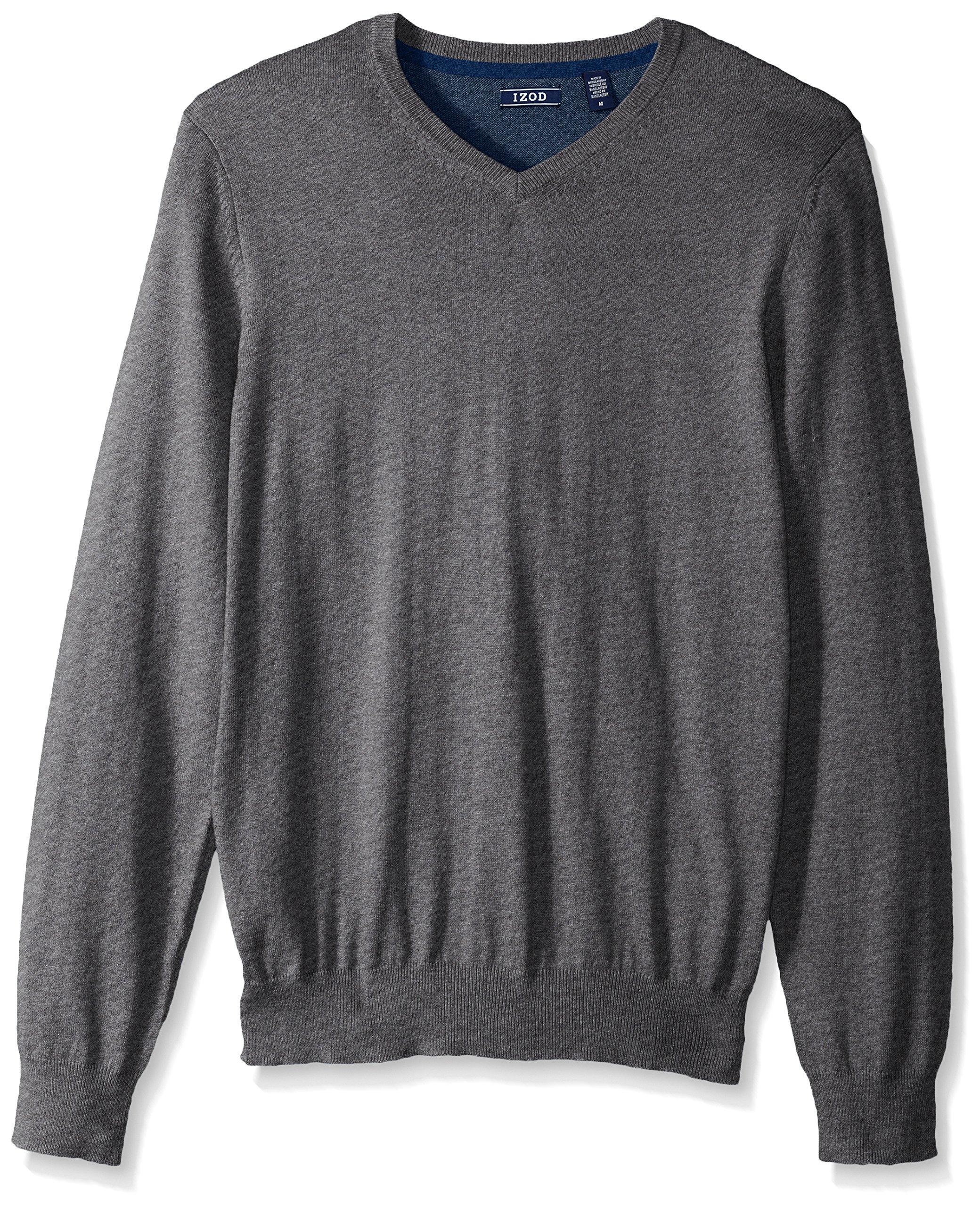 IZOD Men's Fine Gauge Solid V-Neck Sweater, Carbon Heather, Medium