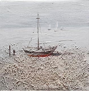 138e117b83 L'Aquila Design Arredamenti BUBOLA Quadro Beige Dipinto a Mano Barca  Particolari a Rilievo su