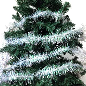 Christmas Elegance 36 FT Christmas Tinsel Garland Classic Christmas Decorations, Silver/Clear Iridescent