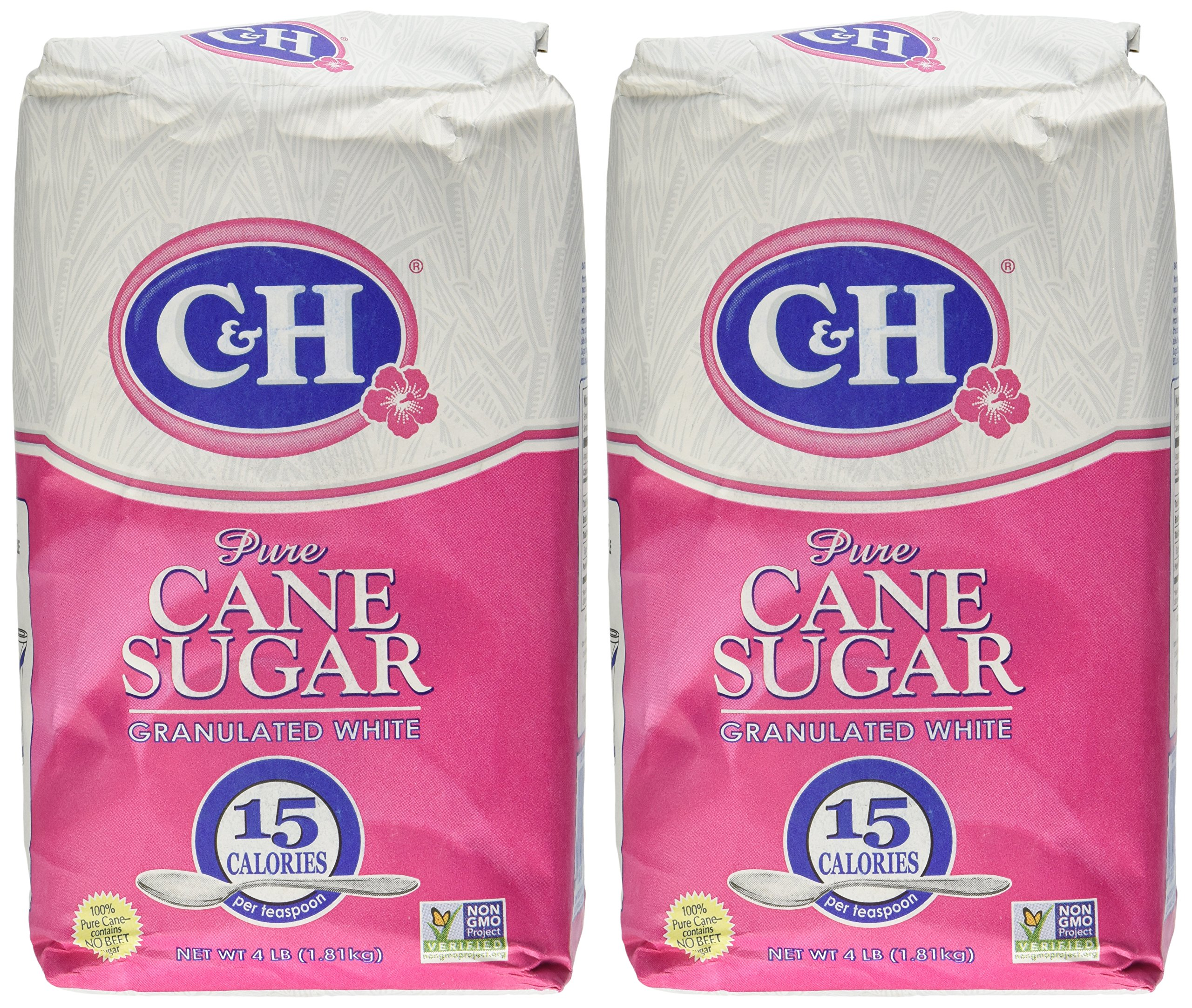 C&H, Cane Sugar, Granulated White, 4 Pound Bag (Pack of 2)