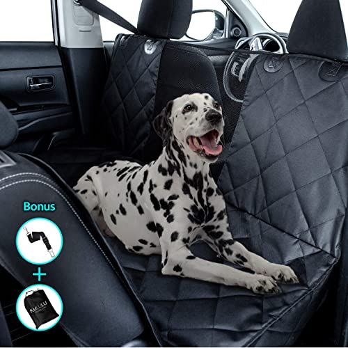 Kululu Dog Car Seat Cover for Back Seat – The Only Pet Seat Cover and Cargo Liner with Mesh Window for Stress Free Travel so You can See Each Other – Backseat Hammock Cover Protector for Cars-Patented