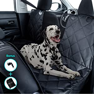 Kululu Dog Car Seat Cover for Back Seat - The Only Pet Seat Cover and Cargo Liner with Mesh Window for Stress Free Travel so You can See Each Other - Backseat Hammock Cover Protector