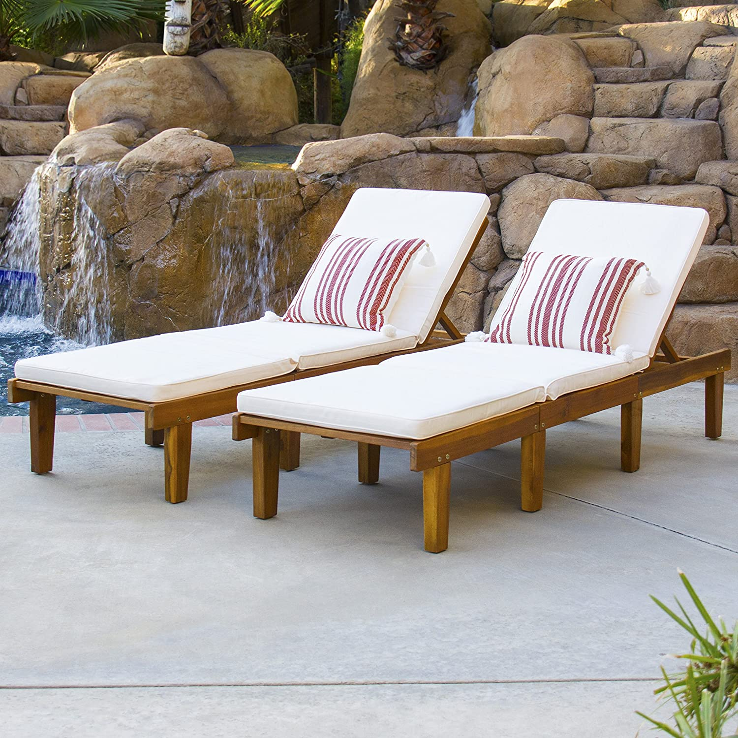 Amazon com best choice products outdoor patio poolside furniture set of 2 acacia wood chaise lounge garden outdoor