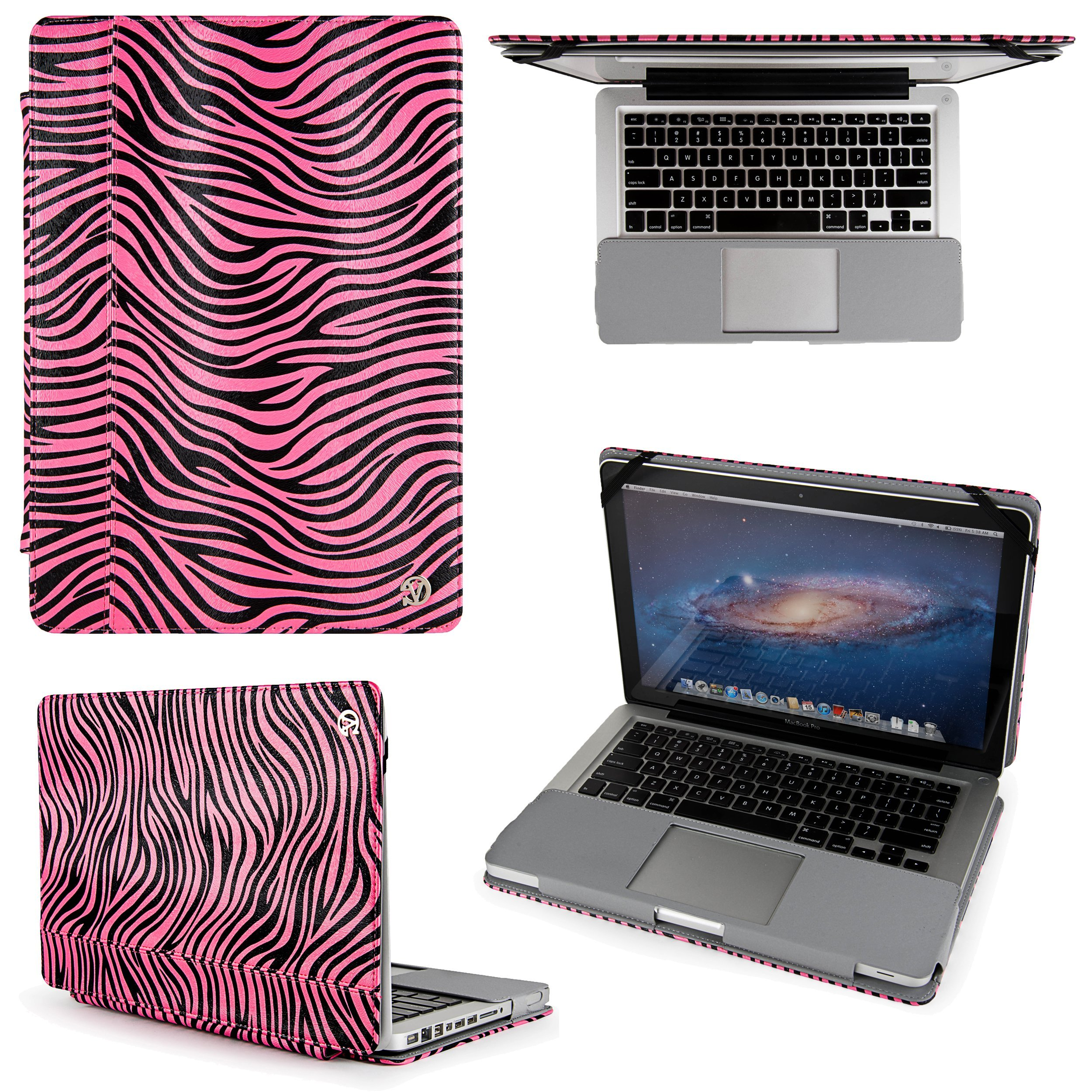 Faux Leather Book Style Folio Protective Cover for Apple Macbook Pro 13.3-inch Laptops (Pink Zebra)