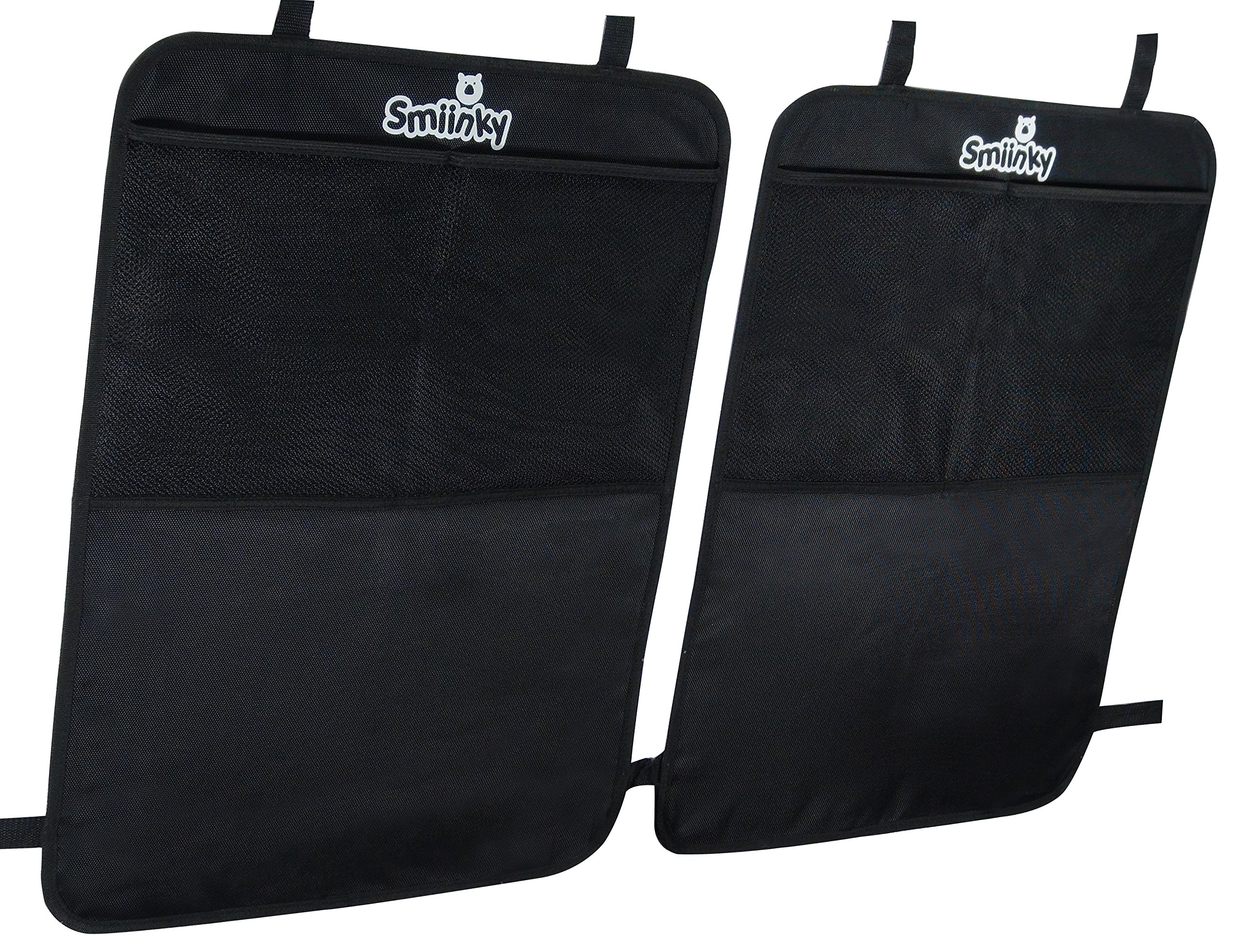 Kick Mats + Extra Large Organizer Pocket - Best Backseat Protector As Seat Covers For Your Car, SUV, Minivan or Truck - Vehicle Back Seats & Kids Safety Accessories - Universal Automotive Protectors by Smiinky