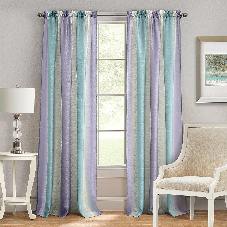 "Achim Home Furnishings Spectrum Rod Pocket Window Curtain Panel, 50"" x 84"", Lilac/Turquoise"