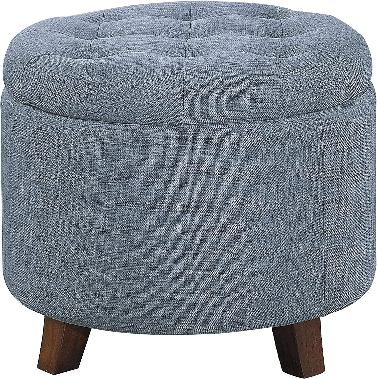 "Homelegance Cleo 20"" Round Fabric Storage Accent Ottoman, Blue"