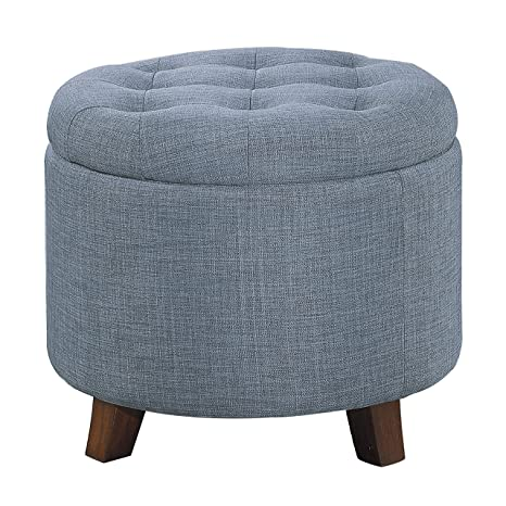 Incredible Homelegance Cleo 20 Round Fabric Storage Accent Ottoman Blue Caraccident5 Cool Chair Designs And Ideas Caraccident5Info